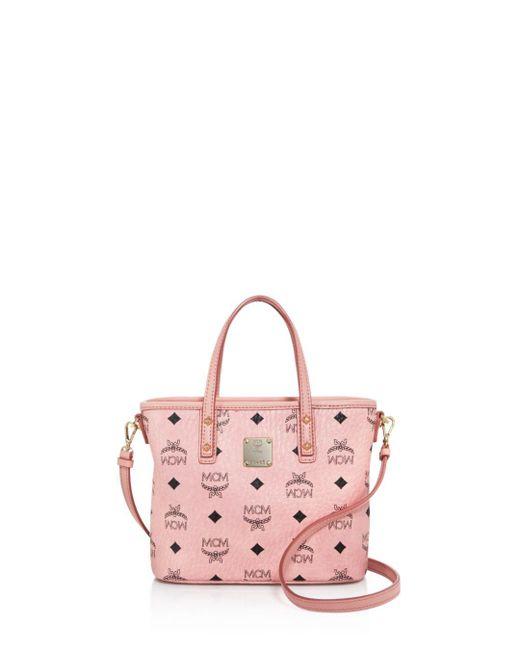 MCM - Pink Anya Top Zip Mini Tote - Lyst