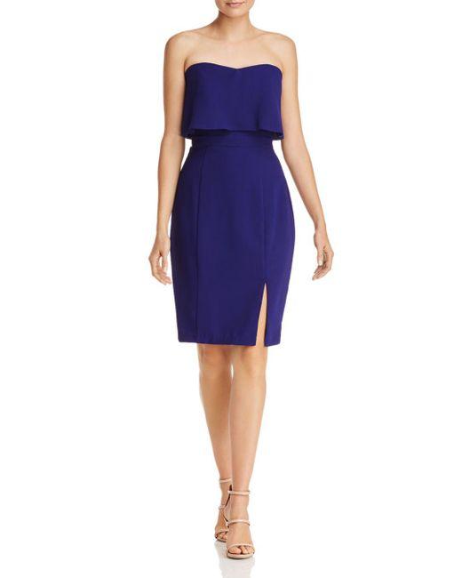 Aqua - Purple Strapless Crepe Dress - Lyst