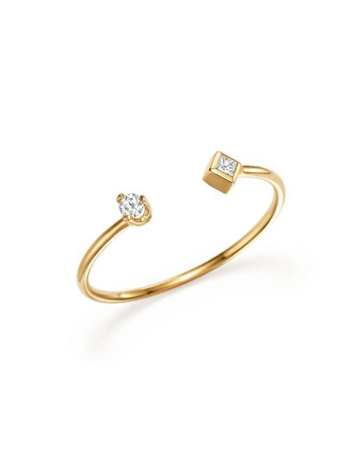Zoe Chicco - Metallic 14k Yellow Gold Open Ring With Prong And Bezel Set Diamonds - Lyst