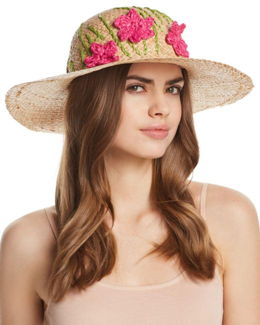Aqua - Brown Straw Floppy Hat With Flowers - Lyst
