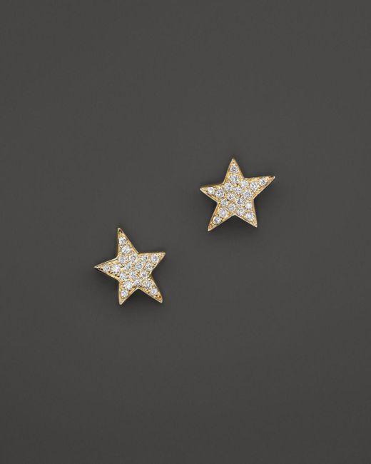 KC Designs - Metallic Diamond Star Stud Earrings In 14k Yellow Gold - Lyst