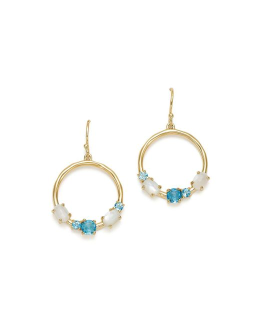 Ippolita - Metallic 18k Yellow Gold Rock Candy® Blue Topaz & Mother-of-pearl Doublet Circle Drop Earrings In Raindrop - Lyst