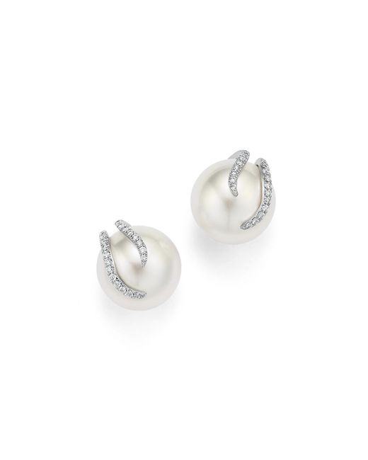 Tara Pearls | 18k White Gold Cultured South Sea Pearl And Diamond Wrapped Stud Earrings | Lyst