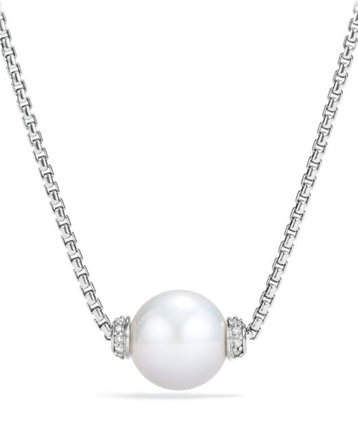David Yurman - Metallic Solari Pendant Necklace With Diamonds & Cultured Freshwater Pearl - Lyst