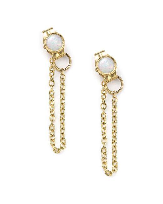Zoe Chicco - Metallic 14k Yellow Gold Draped Chain And Opal Stud Earrings - Lyst