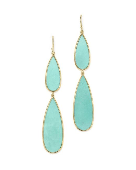 Ippolita - Blue 18k Yellow Gold Rock Candy® Double Teardrop Earrings With Turquoise - Lyst