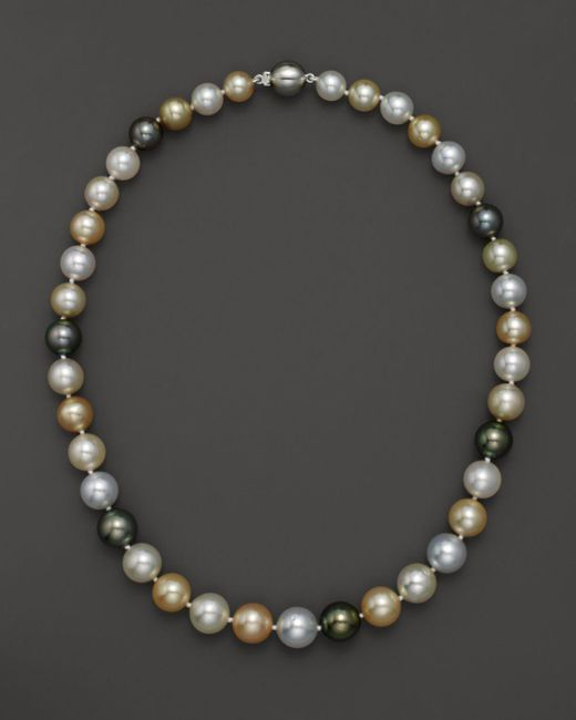 "Bloomingdale's - Multicolor Cultured South Sea And Tahitian Pearl Necklace, 18"" - Lyst"