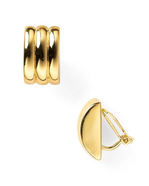 Ralph Lauren | Metallic Lauren Ridged Clip-on Earrings | Lyst