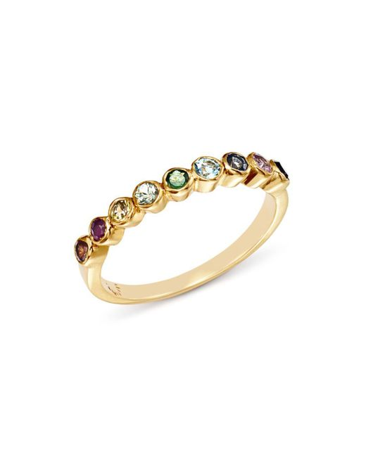 Shebee - Metallic 14k Yellow Gold Multicolor Sapphire Band - Lyst