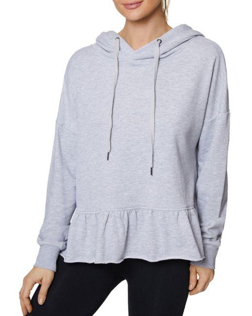 6b1599a53 Lyst - Betsey Johnson Peplum Hooded Sweatshirt in Gray