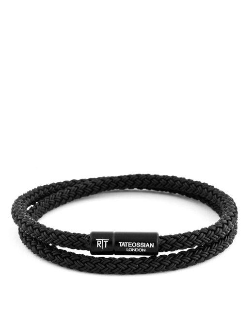 Tateossian - Black Men's Braided Rubber Double-wrap Bracelet for Men - Lyst