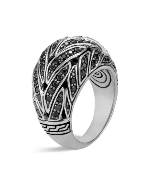 John Hardy - Sterling Silver Classic Chain Dome Ring With Black Sapphire & Black Spinel - Lyst
