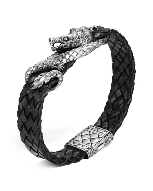 John Hardy | Metallic Men's Naga Sterling Silver Dragon Woven Black Leather Bracelet | Lyst