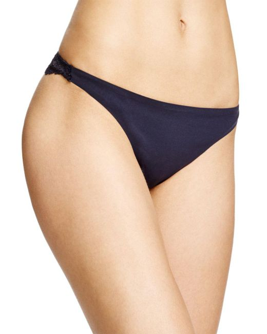 Stella McCartney - Blue Smooth & Lace Thong - Lyst