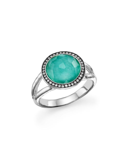 Ippolita - Metallic Sterling Silver Stella Mini Lollipop Ring In Turquoise Doublet With Diamonds - Lyst