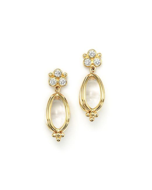Temple St. Clair   Metallic 18k Gold Classic Amulet Earrings With Oval Rock Crystal And Diamonds   Lyst