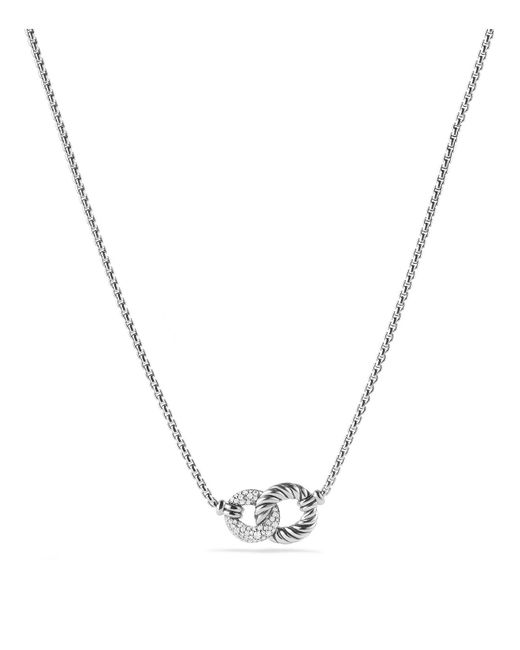 David Yurman | Metallic Belmont Double Link Necklace With Diamonds | Lyst