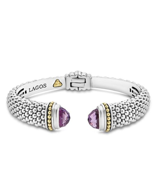 Lagos Metallic 18k Gold And Sterling Silver Caviar Color Amethyst Cuff