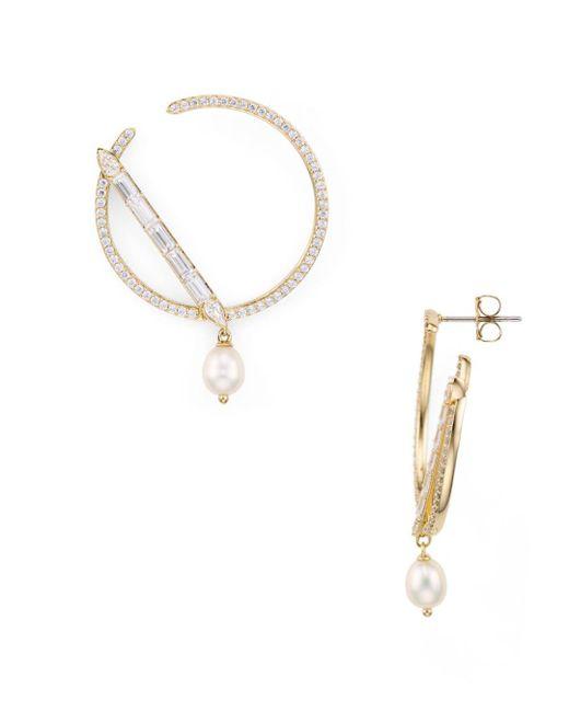 Nadri - Metallic Josephine Cultured Freshwater Pearl Secant Loop Drop Earrings - Lyst