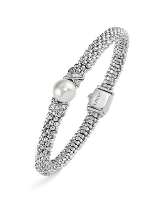 Lagos | Metallic Sterling Silver Luna Button Pearl Diamond X Rope Bracelet | Lyst