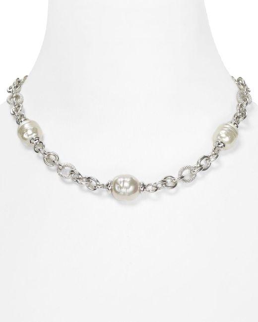 Majorica | Multicolor Simulated Pearl Silver Chain Necklace, 17"