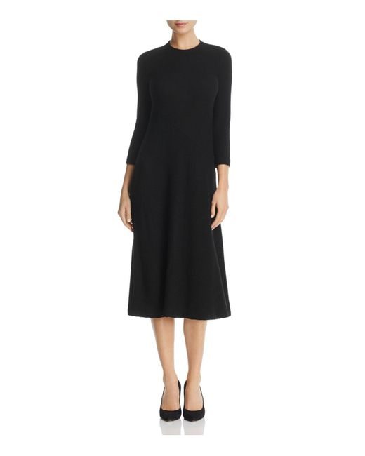 Three Dots | Black Ribbed Midi Sweater Dress | Lyst