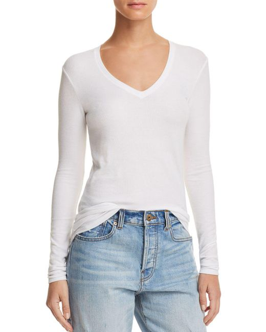 ATM - White Long-Sleeved Ribbed Jersey T-Shirt - Lyst