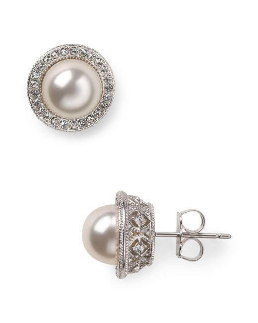 Nadri | White Simulated Pearl Stud Earrings | Lyst