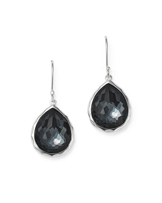Ippolita - Metallic Sterling Silver Wonderland Hematite And Clear Quartz Doublet Mini Teardrop Earrings - Lyst