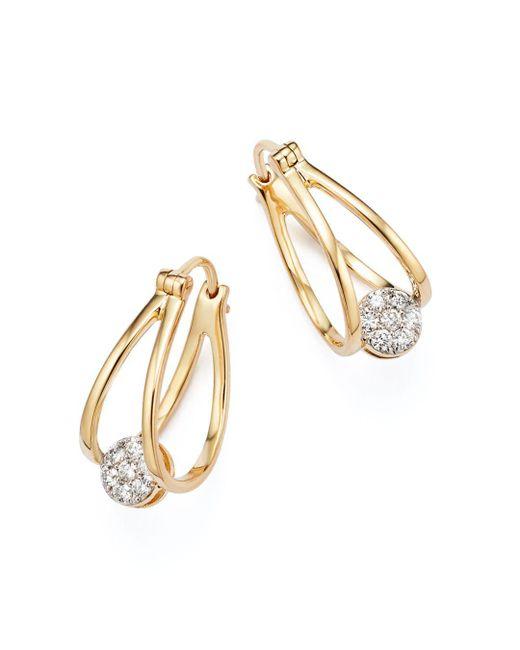 Bloomingdale's - Metallic Diamond Huggie Hoop Earrings In 14k Yellow Gold, .25 Ct. T.w. - Lyst