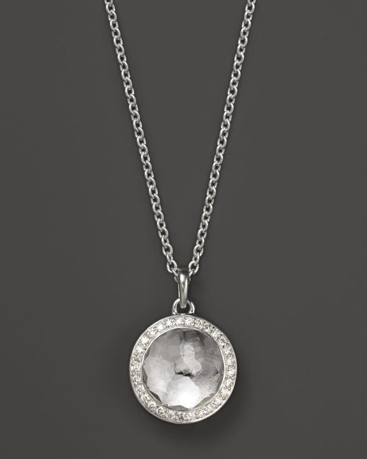 Ippolita | Metallic Lollipop Bezel Necklace In Clear Quartz With Diamonds, .12 Ct. T.w. | Lyst