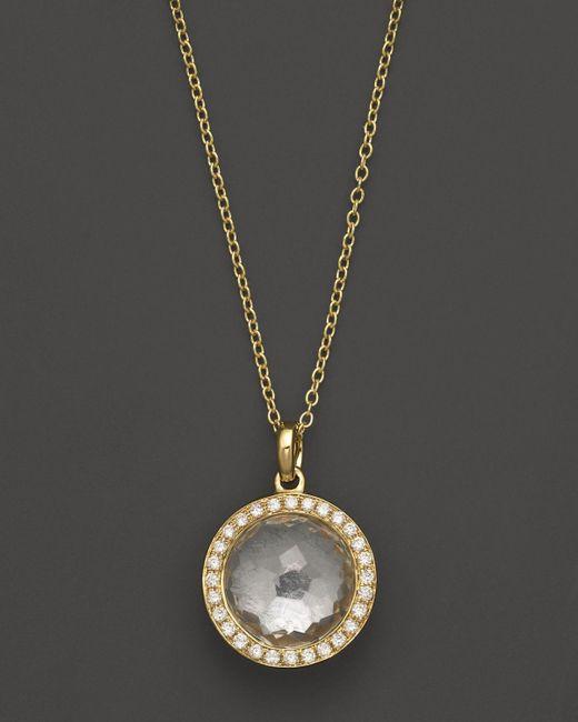 Ippolita   Metallic 18k Gold Mini Lollipop Pendant Necklace In Clear Quartz With Diamonds   Lyst