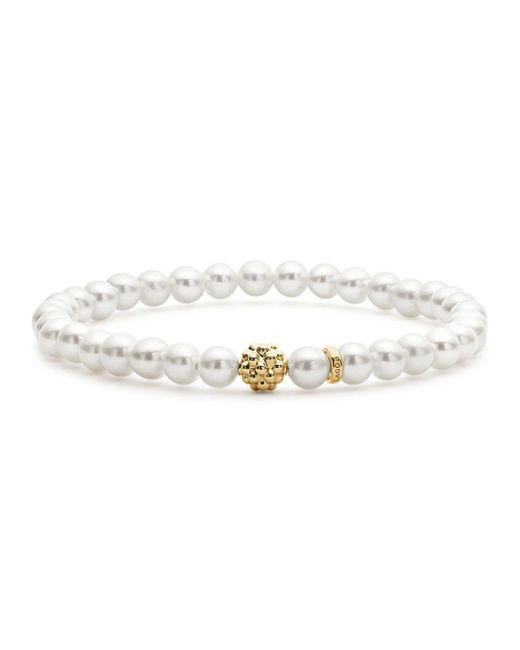Lagos - Metallic Caviar Icon Cultured Freshwater Pearl Bracelet With 18k Gold Caviar Station - Lyst
