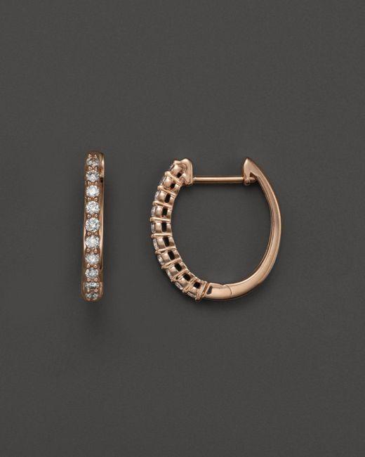 Bloomingdale's - Pink Diamond Hoop Earrings In 14k Rose Gold, .30 Ct. T.w. - Lyst
