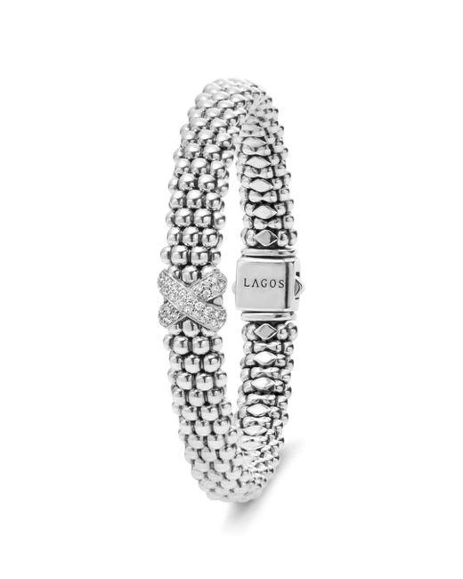 Lagos - White Sterling Silver Caviar Diamond X Rope Bracelet - Lyst