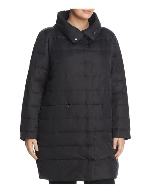 Eileen Fisher | Black Funnel Neck Quilted Puffer Coat | Lyst