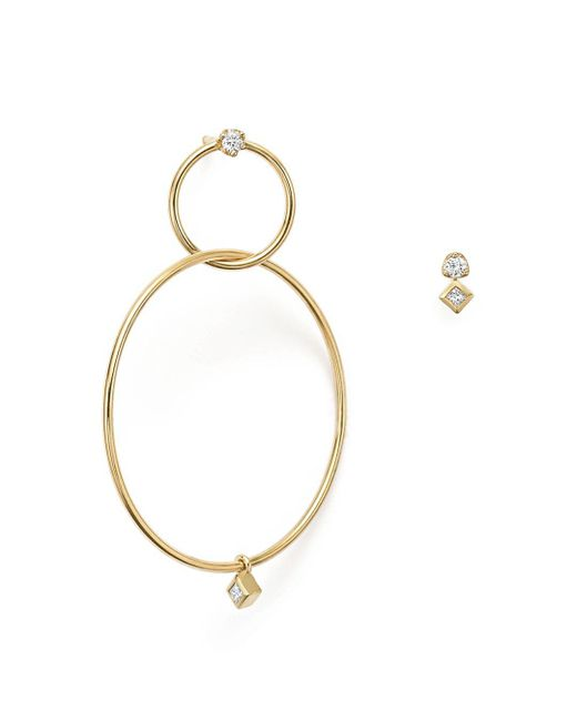 Zoe Chicco - Metallic 14k Yellow Gold Mixed Diamond Stud And Hoop Earrings - Lyst