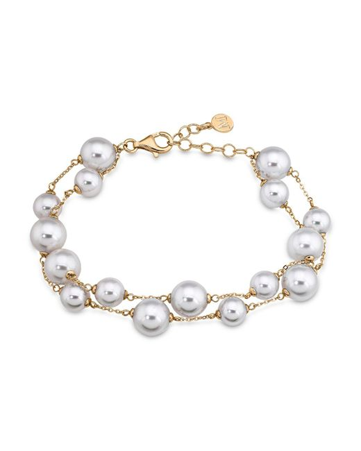 Majorica - Metallic Double Row Simulated Pearl Bracelet - Lyst