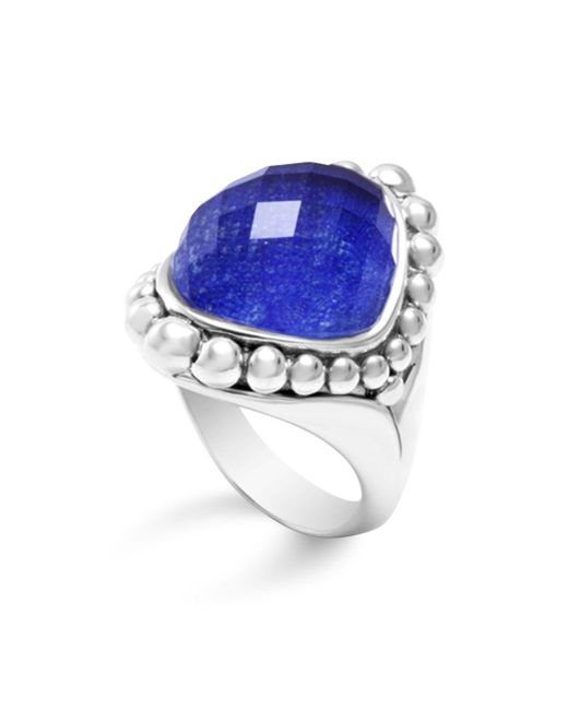 Lagos - Metallic Sterling Silver Maya Doublet Dome Ring With Lapis - Lyst