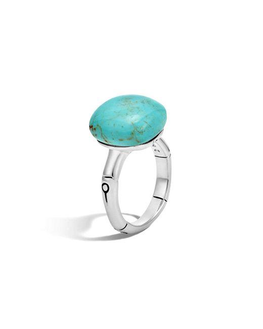John Hardy | Metallic Batu Bamboo Silver Ring With Turquoise | Lyst