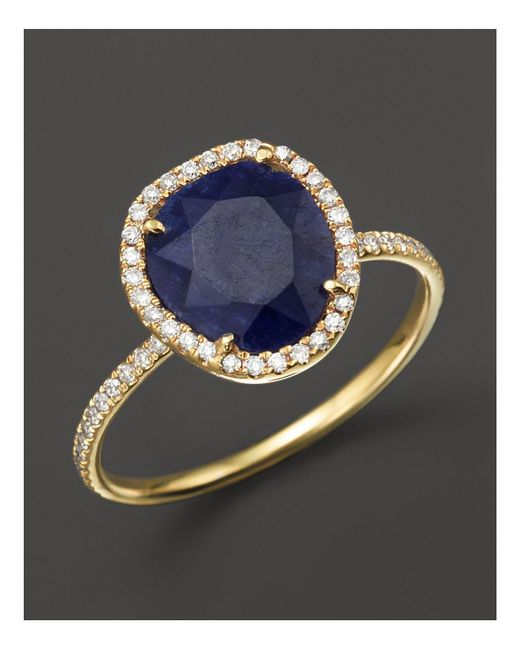 Meira T | 14k Yellow Gold Blue Sapphire Ring With Diamonds, .20 Ct. T.w. | Lyst