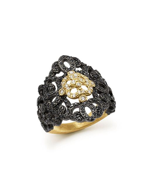 Armenta | Metallic 18k Yellow Gold And Blackened Sterling Silver Old World Filigree Diamond And Black Sapphire Ring | Lyst