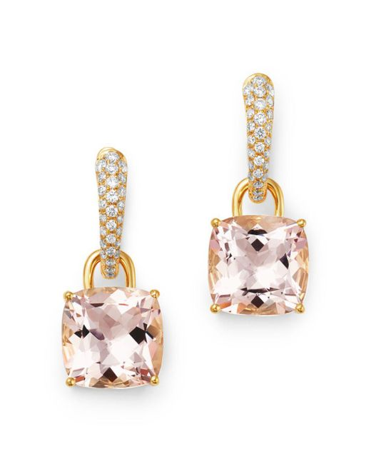 Kiki McDonough - Metallic 18k Yellow Gold Classics Cushion-cut Morganite & Diamond Drop Earrings - Lyst