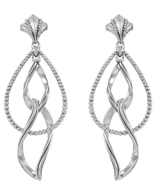 Lagos | Metallic Sterling Silver Caviar Double Marquis Earrings | Lyst
