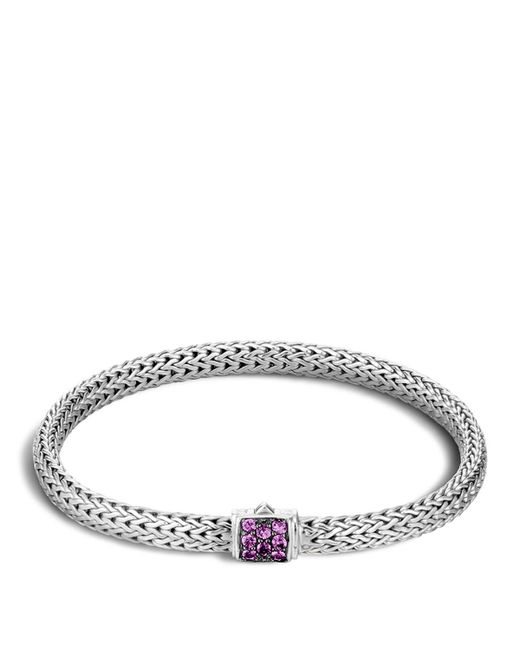 John Hardy | Purple Classic Chain Sterling Silver Lava Extra Small Bracelet With Amethyst | Lyst