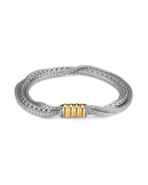 John Hardy | Metallic Bedeg Gold And Silver Three Rows Bracelet | Lyst