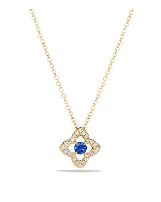 David Yurman | Metallic Venetian Quatrefoil Necklace With Blue Sapphire And Diamonds In 18k Gold | Lyst