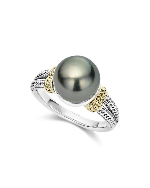 Lagos - Metallic 18k Gold And Sterling Silver Luna Cultured Freshwater Black Pearl Ring - Lyst