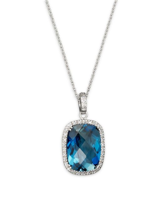 """Bloomingdale's - London Blue Topaz Cushion And Diamond Necklace In 14k White Gold, 16"""" - Lyst"""