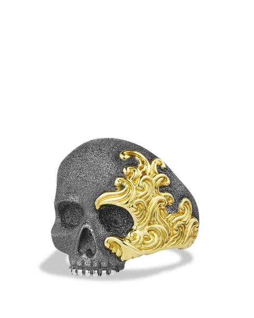David Yurman - Metallic Waves Large Skull Ring With Gold - Lyst